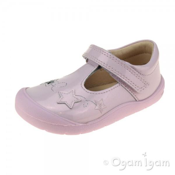 Start-rite Sparkle Girls Pale Lilac Glitter Patent T-bar Shoe