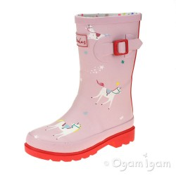 Joules Pink Unicorn Welly Girls Pink Wellington Boot