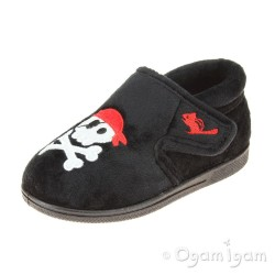 Chipmunks Jolly Roger Boys Black Slipper