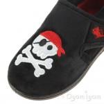 Chipmunks Jolly Roger Boys Black Slipper