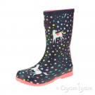 Joules Navy Unicorn Welly Girls Navy Waterproof Boot