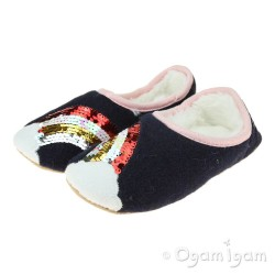 Joules Slippet Navy Rainbow Girls Navy Slipper