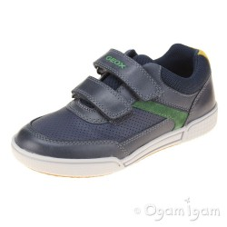 Geox Poseido Boys Navy Green Shoe