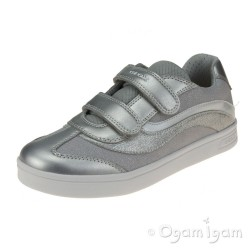 Geox DJRock Girls Silver Trainer
