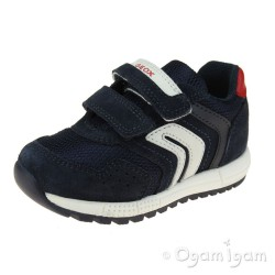 Geox Alben Boys Navy White Trainer