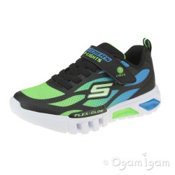 Skechers Flex Glow Dezlom Boys Blue/Lime Trainers