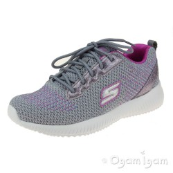 Skechers Bobs Squad Glitter Charm Girls Grey/Hot Pink Trainer