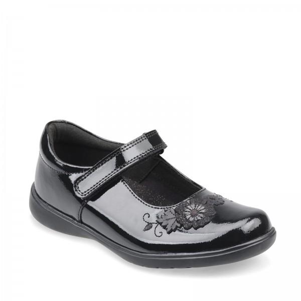 Start Rite Wish Girls Black Patent School Shoe
