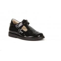 Froddo Evia Girls Black Patent T-Bar School Shoe