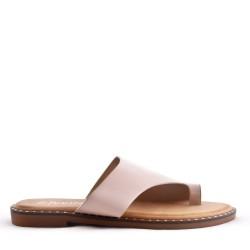 Asymmetric Toe Loop Womens Beige Sandal