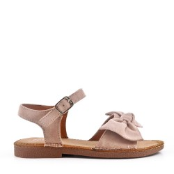 Faux Suede Bow Girls Beige Sandal