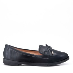 Bow Loafer Womens Black Shoe