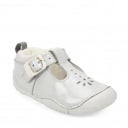 Start-rite Baby Bubble Infant Girls Pale Grey Patent T-bar Shoe