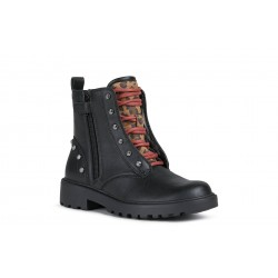 Geox Casey Girls Black/Whisky Lace Up Boot