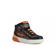 Geox Grayjay Boys Black/Orange Lights Boot