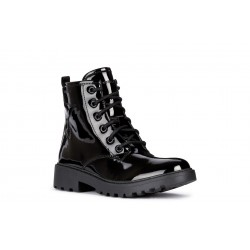 Geox Casey Girls Black Patent Lace Up Boot