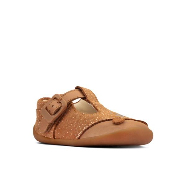 Clarks Roamer Cub Infant Girls Tan T-Bar Shoe
