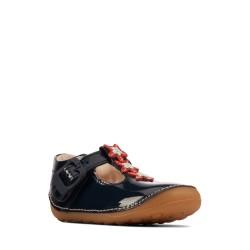 Clarks Tiny Flower Infant Girls Navy T-Bar Shoe