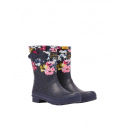 Joules Molly Leopard Floral Womens Navy Welly Waterproof Boot
