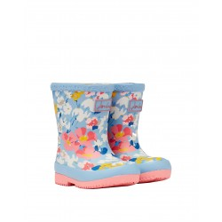 Joules Blue Floral Girls Welly Warm Lined Waterproof Boot