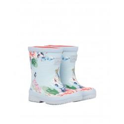 Joules Floral Stripe Peter Rabbit Girls Blue Welly Waterproof Boot