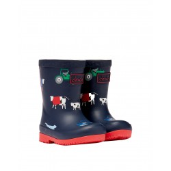 Joules Animal Boys Navy Blue Welly Waterproof Boot