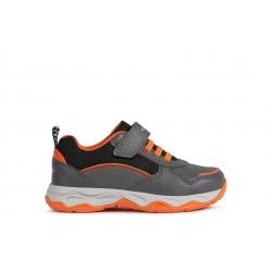 Geox Calco Boys Dark Grey/ Orange Trainer