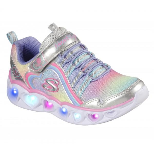 Skechers Heart Lights Rainbow Lux Girls Silver-Multi Trainer