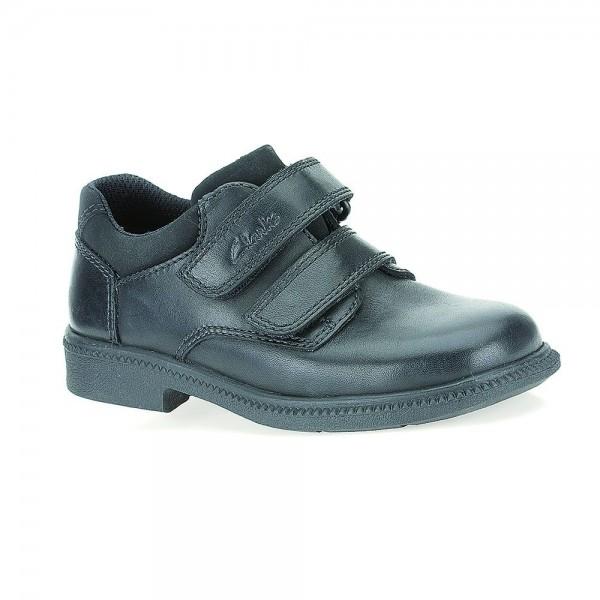Clarks Deaton Inf Boys Black School Shoe