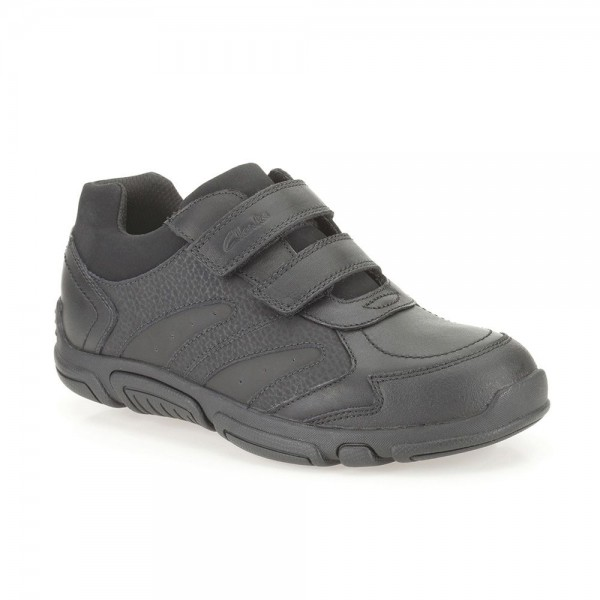 Clarks Jack Spark Jnr Boys Black School Shoe