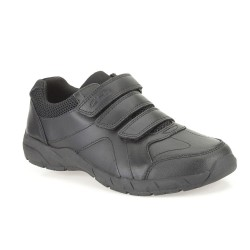 Clarks Air Learn Jnr Boys Black School Shoe