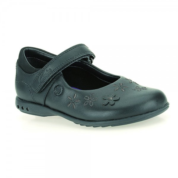 Clarks BreenaToes Inf Girls Black School Shoe