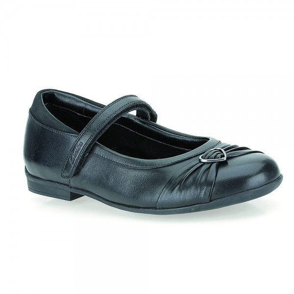 Clarks Dolly Heart Girls Black School Shoe