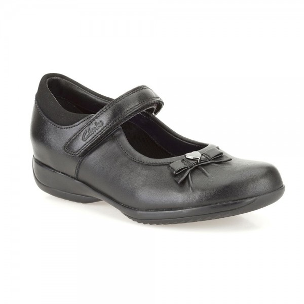 Clarks DaisyGleam Infant Girls Black School Shoe