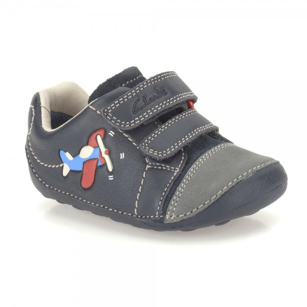 Clarks Tiny Jet Infant Boys Navy Shoe