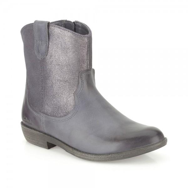 Clarks Biddie Tack Girls Anthracite Boot