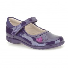 Clarks Trixi Heart Girls Purple Patent Shoe