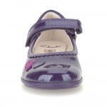 Clarks Trixi Heart Girls Purple Patent Shoe