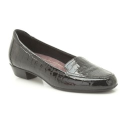 Clarks Caswell Time Womens Black Patent Croc Shoe