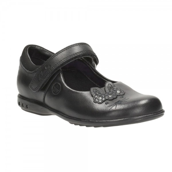 Clarks Trixi Run Inf Girls Black School Shoe