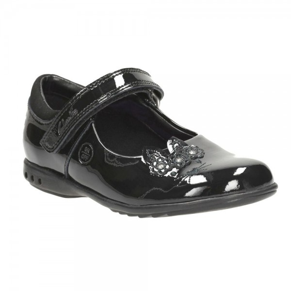 Clarks Trixi Run Inf Girls Black Patent School Shoe