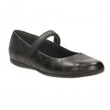 Clarks Dance Roxy Inf Girls Black School Shoe