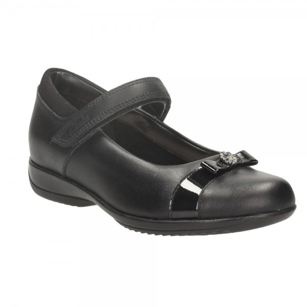 Clarks DaisyLocketInf Girls Black School Shoe