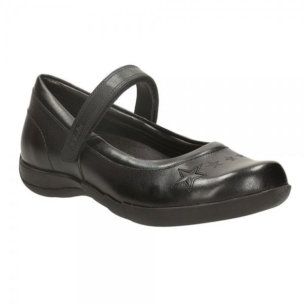 Clarks Lexie Jo Jnr Girls Black School Shoe