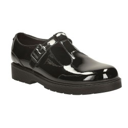 Clarks Purley Go Girls Black Patent School Shoe