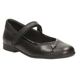 Clarks Movello Lo Jnr Girls Black School Shoe