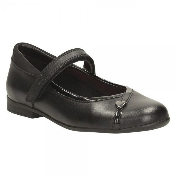 Clarks Dolly Babe Jnr Girls Black School Shoe