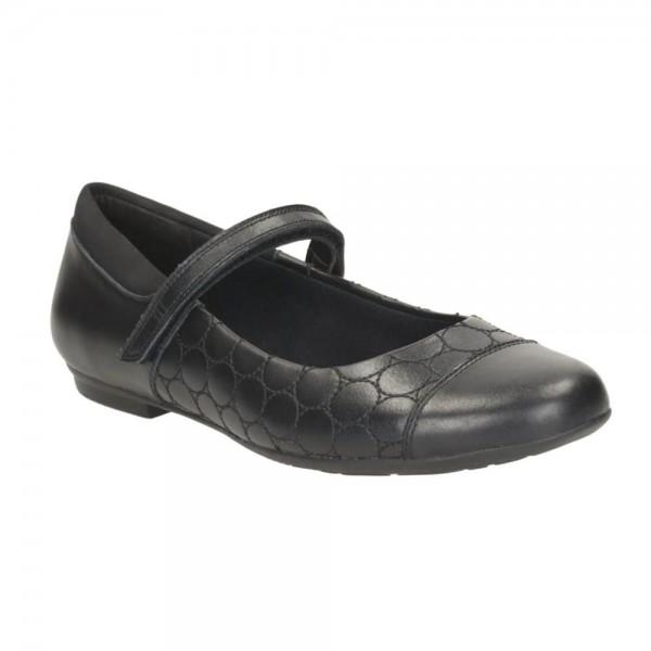 Clarks Tizz Whizz BL Girls Black School Shoe