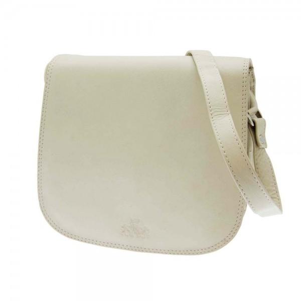 Rowallan Rounded Handbag in Cream Leather