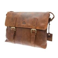Rowallan Flapover Shoulder Bag in Cognac Leather
